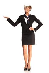 Charming flight stewardess showing various gesture