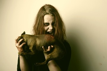 Girl possessed by a demon sacrificed dog