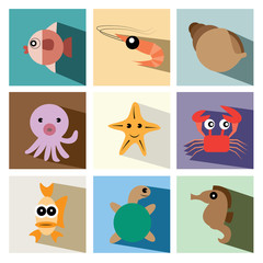 marine life icon set vector illustration eps10