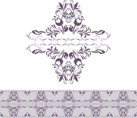 Dark violet ornamental element and border for decor