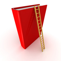 red book with wooden ladder. success education concept