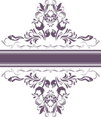Dark violet ornamental element for decor isolated on the white
