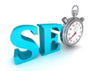 seo blue word and stopwatch on white background