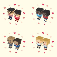 romance block isometric cartoon character