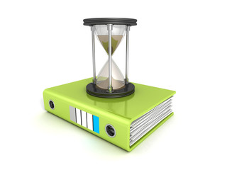 office ring binder with sand hourglass