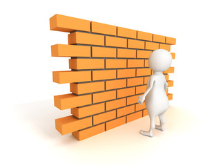 white 3d man with brick wall
