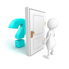 3d man with blue question mark behind door
