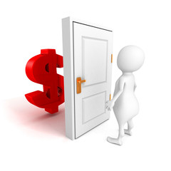 white 3d person with dollar currency symbol behind door