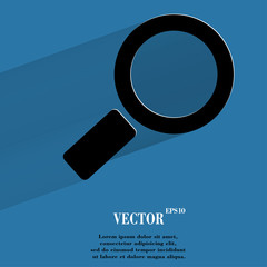 Search magnifier. Flat modern web button with long shadow and