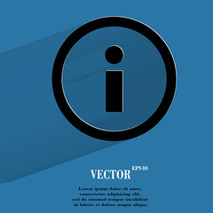 info. Flat modern web button with long shadow and space for your