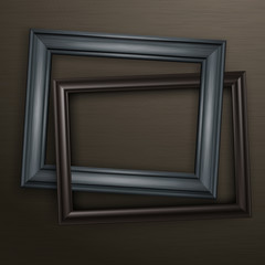 Two wooden black frames for picture on dark background, vector