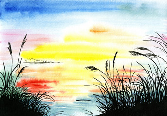 watercolor drawing landscape
