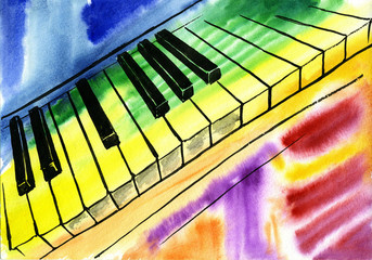 watercolor drawing of piano