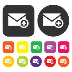 Email icon. eCommerce symbol. Round and rectangle colourful 12 b