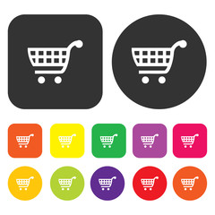 Shopping cart icon. eCommerce symbol. Round and rectangle colour