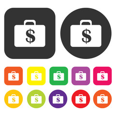 Moneybag icon. Accounting symbol. Round and rectangle colourful
