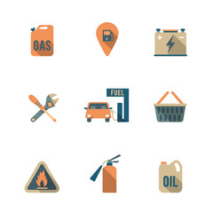 Fuel Pump Icons Set