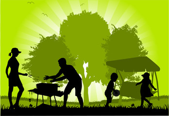 Family picnic in the garden