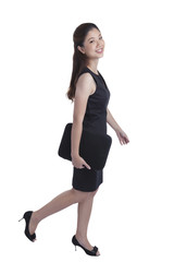 businesswoman walking isolated