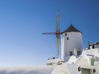 Old mill on the top on Santorini