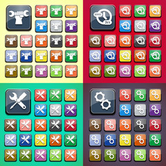 Stylish colored icons, service gear, key