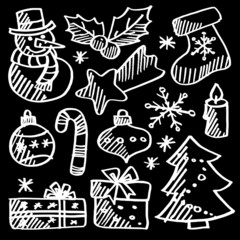 Christmas doodle icons set, chalk sketches, vector