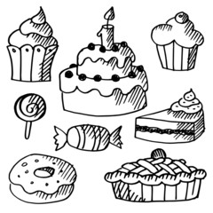 Set of various sweets, cakes, cupcakes, doodle sketches, vectors