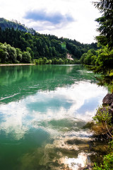 Green river in alpine austrian mountains