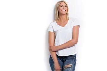 Happy girl in white shirt.