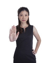 Woman giving hand stop sign