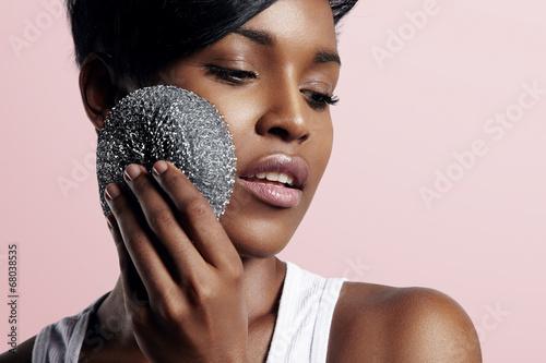 beauty woman clean her skin