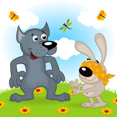 wolf and hare playing hide and seek - vector  illustration, eps