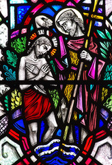 Baptism of Jesus Christ in stained glass