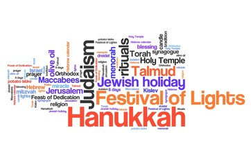 Hanukkah - word cloud illustration.