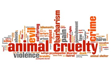 Animal violence - word cloud illustration.