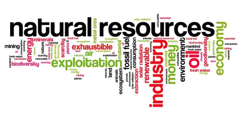 Natural resources - word cloud illustration.