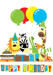 Happy birthday- animals with balloons and cake