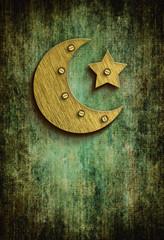 grunge ramadan card with moon and star