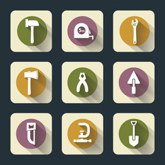 Six flat working tools icons