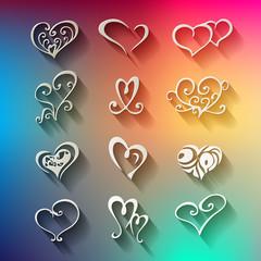 Ornament Herzen Vector Papier Regenbogen