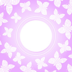 Romantic pink card/frame with white hovering butterflies