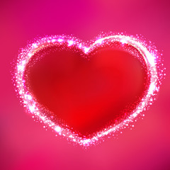 Shining Red Heart on Pink Background