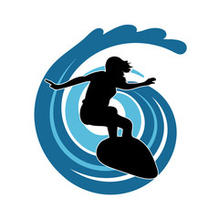 surfer on waves an illustration on a white background