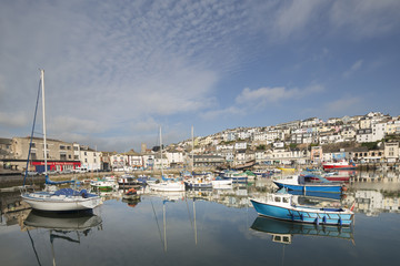 fishing boats moored in brixham harbour, devon