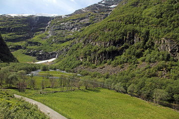Landscape  from Flamsbana train Sognefjord Aurland,Norway.