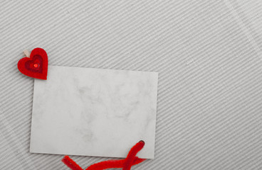 Blank card copy-space text message and red heart symbol love