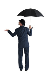 businessman with umbrella isolated on a white