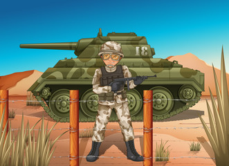 A soldier in front of the military tank