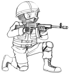 A sketch of a soldier with a gun