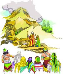 Moisés sube al monte Sinaí a recibir los mandamientos